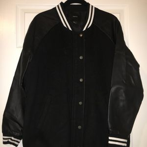 F21 Oversized Black Letterman Jacket